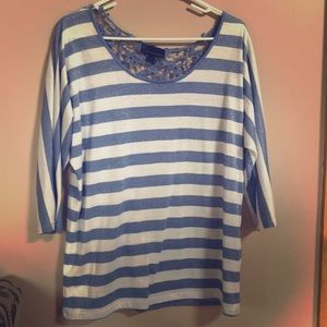 3/4 sleeve blue white stripes lace back detail